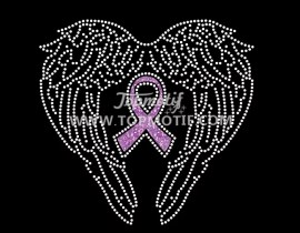 angle wings cancer ribbon custom rhinestone transfer