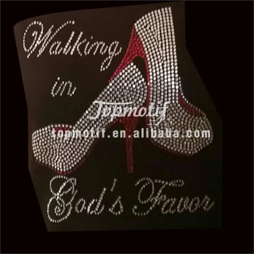 Walking in god's favor iron on high heels rhinestone motif