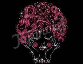 wholesale Ribbon breast cancer rhinestone heat transfers