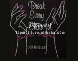 Break every chain iron on transfer motif hotfix rhinestone motif