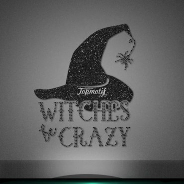 Black color glitter rhinestone witches hat iron on transfers