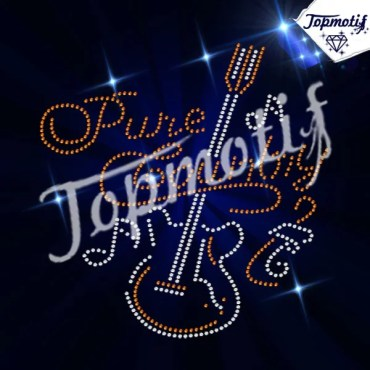 Music with guitar instrument rhinestone heat transfer motifs