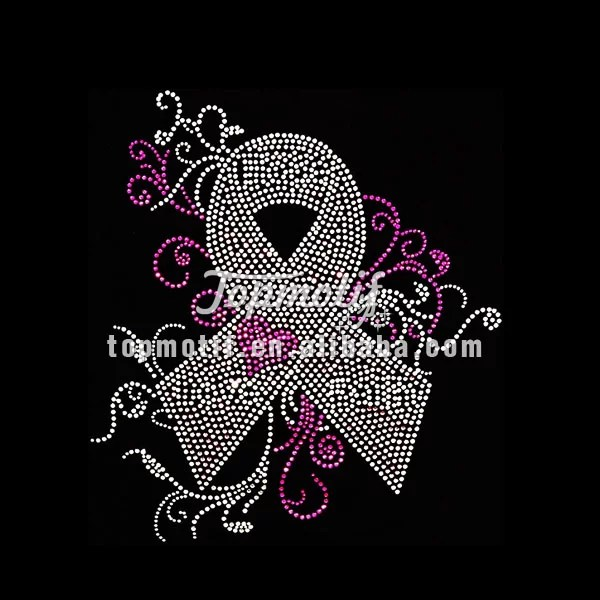 Breast cancer ribbon iron on rhinestone motif designs