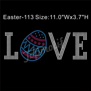 Iron On Bling Letters Love Easter Egg Rhinestone Transfers Supplier