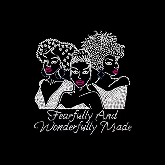 fearfully and wonderfully made afro girl rhinestone transfer for t-shirt