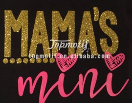 Low MOQ hot fix MaMa's Mini Glitter t shirt iron on heat transfers