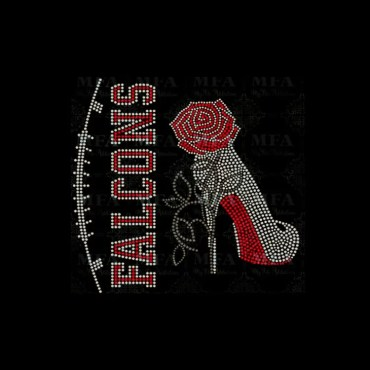 FALCONS team & high heel rhinestone heat Transfer with rose