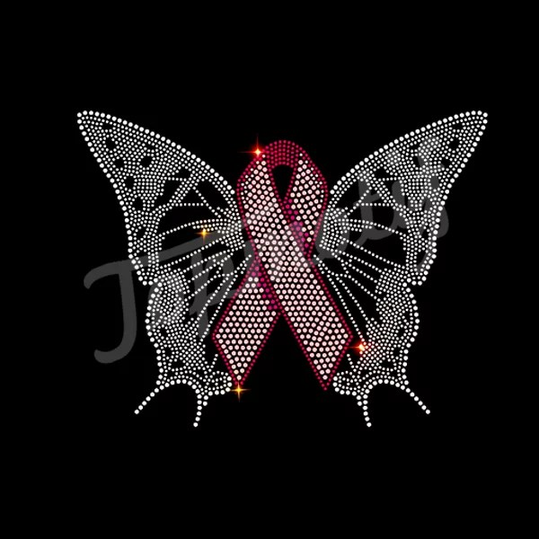 Wholesale Hot Fix Butterfly Rhinestone Transfer Ribbon Iron On Tshirt Decals
