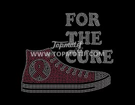 rhinestone iron on for the cure pink ribbon heat transfer
