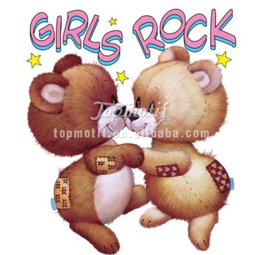 Small Wholesale Cute Teddy Bear Girls Rock Heat Transfer Printing Pu Vinyl