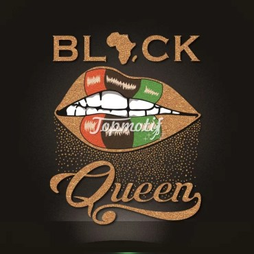 New design black queen glitter heat transfer printing for tshirts