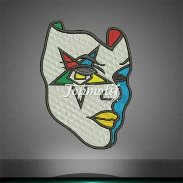 Best quality low moq OES mask motif iron on embroidery patch
