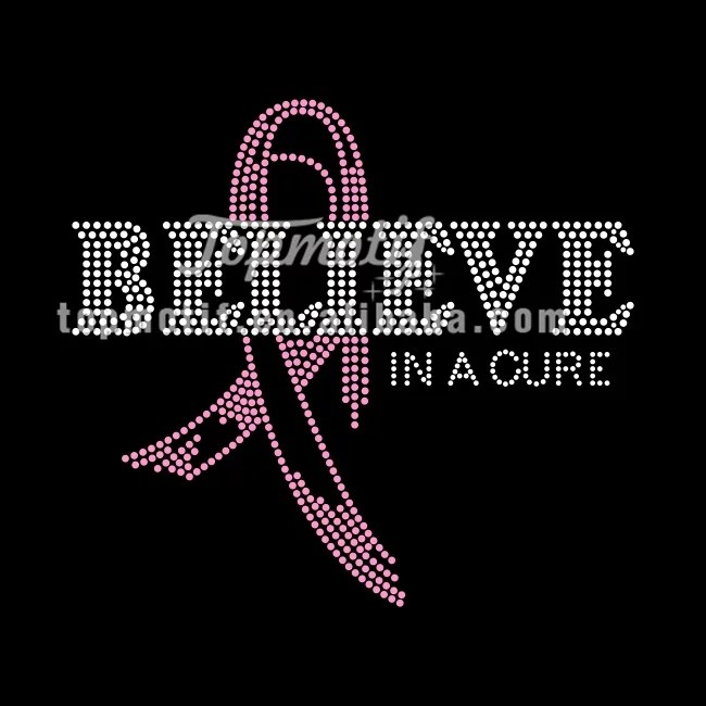 Breast cancer awareness believe ribbon rhinestone transfers designs
