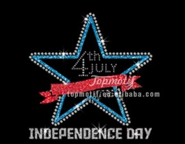 4th of july glitter and rhinestone Transfer design for Independence day