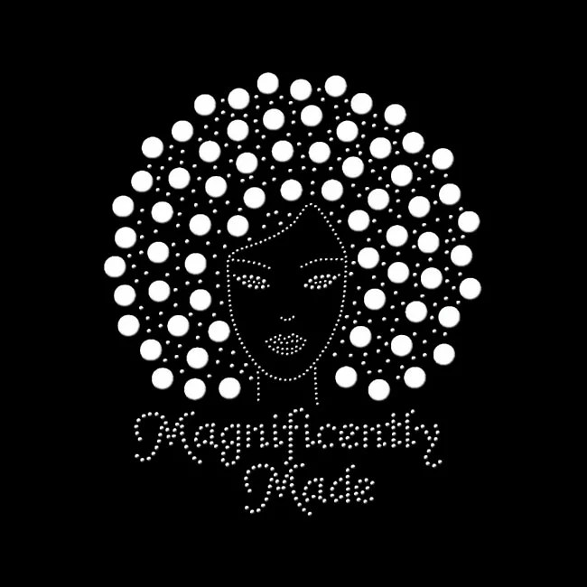 magnificently made afro girl rhinestone transfer motifs