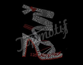 Custom bling iron on 126 lady high-heeled shoes iron on rhinestone transfers