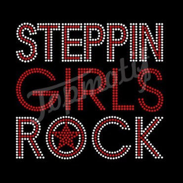 Iron On Bling Letters Steppin Girls Rock Rhinestone Hotfix Transfer