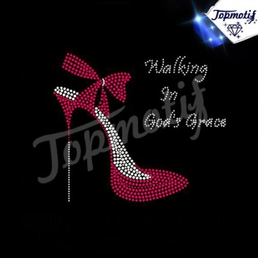 Walking In God Grace High Heel Rhinestone Heat Transfers For T-shirts
