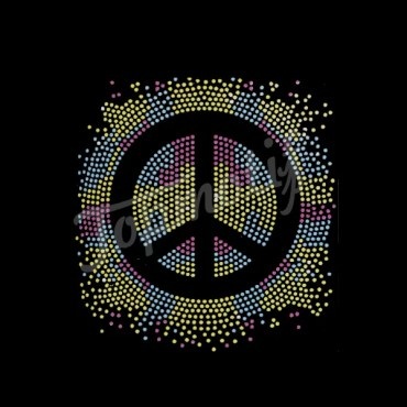 Colorful Peace Sign Iron On Rhinestone Transfer Designs Accessories for Women
