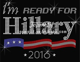 Newest Design 2016 Hillary Rhinestone Iron Ons Applique