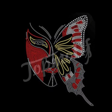 Wholesale custom rhinestone butterfly mask crystal hotfix motifs