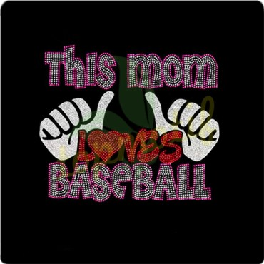 Bling This Mom Loves Baseball Two Thumbs UP Iron on Rhinestone Hot Fix Transfer Bling
