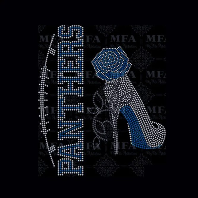 PANTHERS team & high heel rhinestone heat Transfer with rose