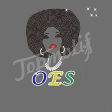 Afro Woman OES Crystal Transfers Eastern Star Apparel Rhinestone Stickers