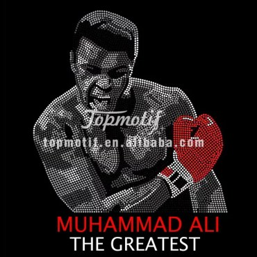 Wholesale Bling Custom Iron On Rhinestone Designs Muhammad Ali