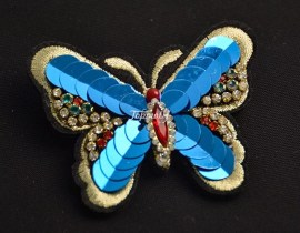 Iron on sequin applique butterfly rhinestone beaded embroidered patch