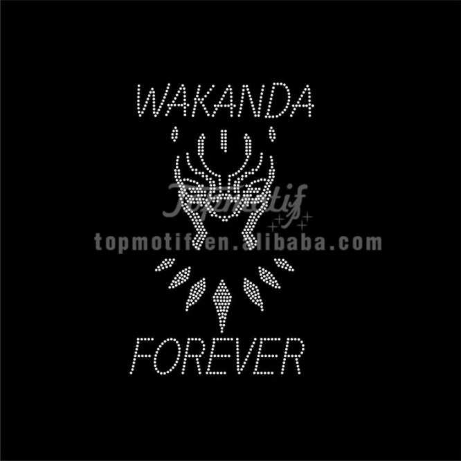 Wholesale wakanda forever rhinestone transfer designs