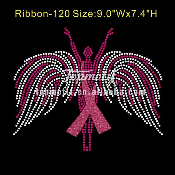 Pink Ribbon Rhinestone Transfer Custom Iron Ons Breast Cancer