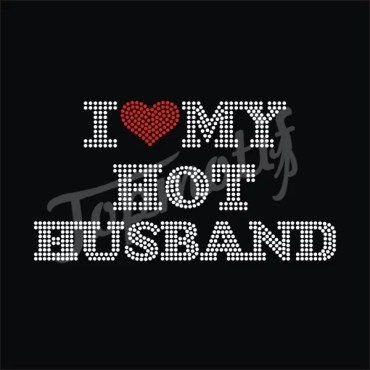 Bling I Love My Husband Rhinestone Iron On Transfers For t Shirts