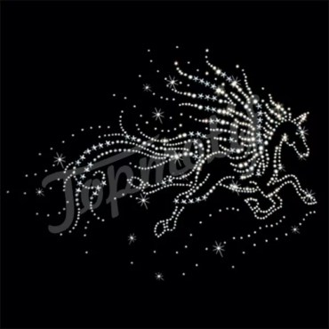 Free running horse rhinestone iron on transfer for tee shirt transfers