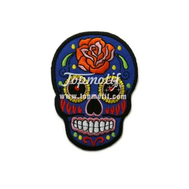 Custom Iron On Patches Sugar Skull And Roses Clothing Patch