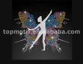 Custom Bling Colorful Butterfly Rhinestone Glitter Iron on Transfer