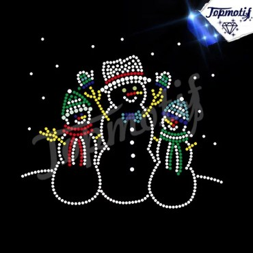 wholesale snowman Christmas iron on rhinestone transfers