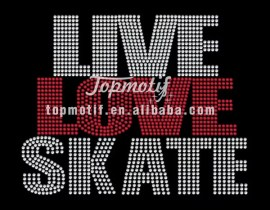 Rhinestone Transfers Live Love Skate Hot Fix Clothing Motifs