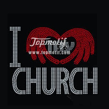 hot fix rhinestones i love my church personalized iron on decals