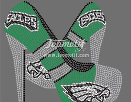 Eagles hign heels iron on shirt for rhinestone iron on appliques
