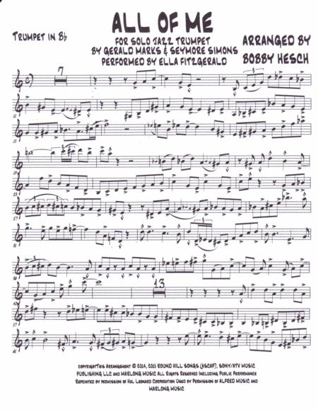 All Of Me For Solo Jazz Trumpet Music Sheet Download