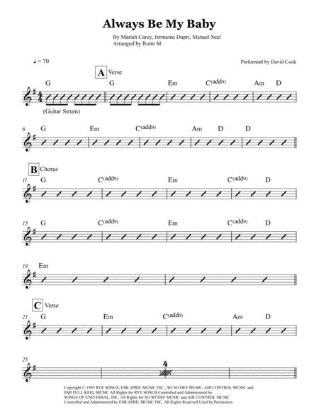 David Cook Always Be My Baby Chord : david, always, chord, Always, Sheet, Performed, David, Music, Download, TopMusicSheet.com