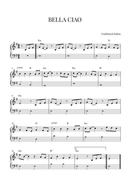 Bella Ciao Piano Notes : bella, piano, notes, Bella, Piano, Music, Sheet, Download, TopMusicSheet.com