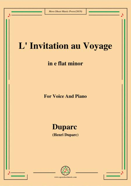 duparc l invitation au voyage in e flat minor for voice and piano music sheet download topmusicsheet com