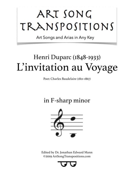 l invitation au voyage transposed to f sharp minor music sheet download topmusicsheet com