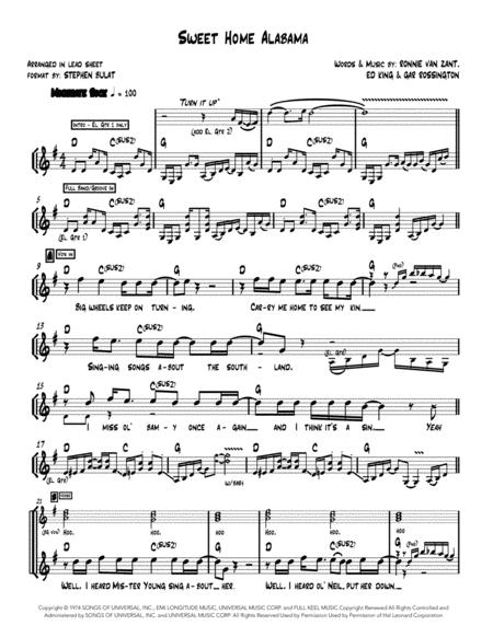The best part, it's in the key of g (just. Sweet Home Alabama Lynyrd Skynyrd Lead Sheet In Original Key Of G Music Sheet Download Topmusicsheet Com