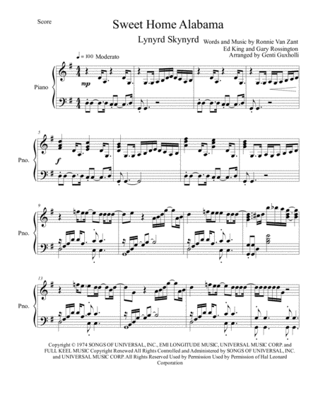 Learn to play sweet home alabama made famous by lynyrd skynyrd on piano with the yousician app! Sweet Home Alabama Piano Solo Music Sheet Download Topmusicsheet Com
