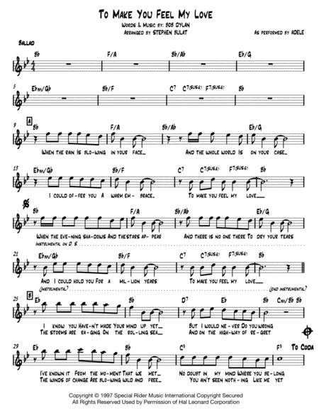 To Make You Feel My Love Bob Dylan Adele Lead Sheet In Original Key Of Bb Music Sheet Download - TopMusicSheet.com