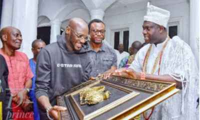 Ooni of Ife hosts 2Baba, wife Annie in his palace | See Photos!