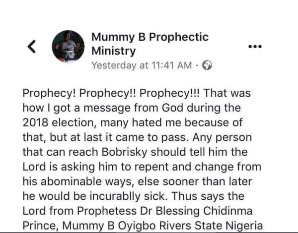 Bobrisky reacts to trending prophecy against him